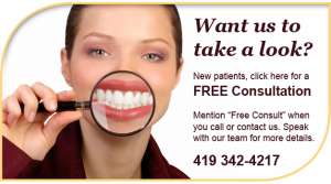 """Want us to take a closer look? New patients, click here for a FREE Consultation. Mention """"Free Consult"""" when you call or contact us. Speak with our team for more details. 419-342-4217"""